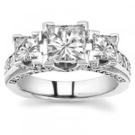 Three Stone Engagements With Accent Diamonds